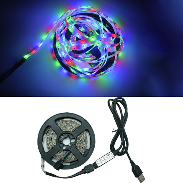 Hc39fd93149264208aaf8166a1a6c3e85t - LED Lights StripS USB Infrared Control RGB SMD2835 DC5V 1M 2M 3M 4M 5M Flexible Lamp Tape Diode TV Background Lighting luces LED