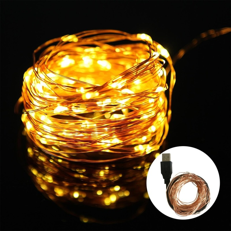 Hc97695a09f384cd4b7b23dca31ca8e41S - 2/5/10/20M USB LED String Lights Copper Silver Wire Garland Light Waterproof Fairy Lights For Christmas Wedding Party Decoration