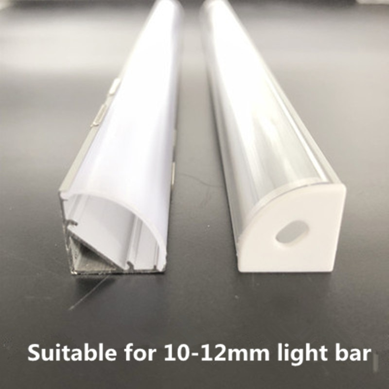 Hc9a2c47af202411bb967e774cdd851c8i - 2-30pcs/lot 0.5m/pcs 45 degree angle aluminum profile for 5050 3528 5630 LED strips Milky white/transparent cover strip channel