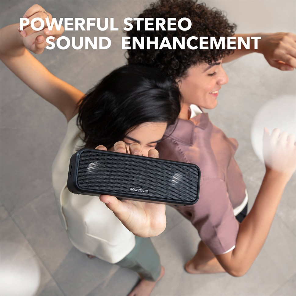Hca9b5cf86cce416b9b4ca2d47ee68d49A - Soundcore 3 Bluetooth Speaker with Stereo Sound, Pure Titanium Diaphragm Drivers, PartyCast Technology, BassUp, 24H Playtime