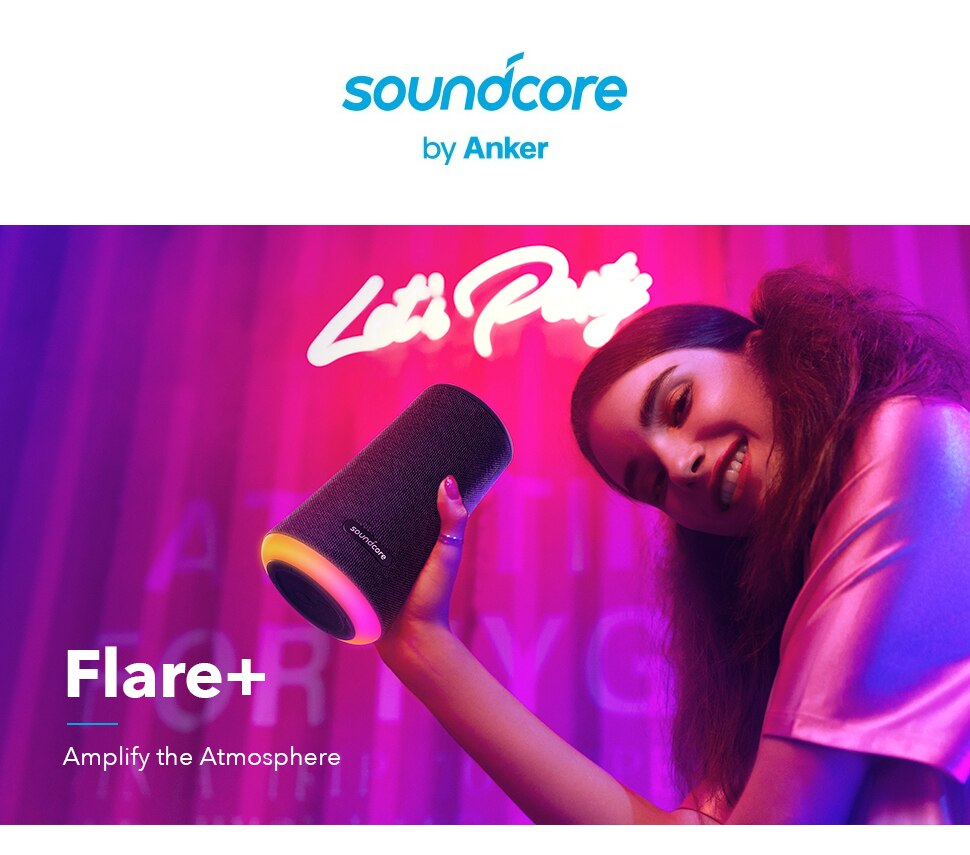Hcab6e5882b904acc947e6c340e621896o - Soundcore Flare Portable Bluetooth Speaker by Anker Huge 360' Sound IPX7 Waterproof Bigger Bass Ambient LED 20 -Hour Playtime