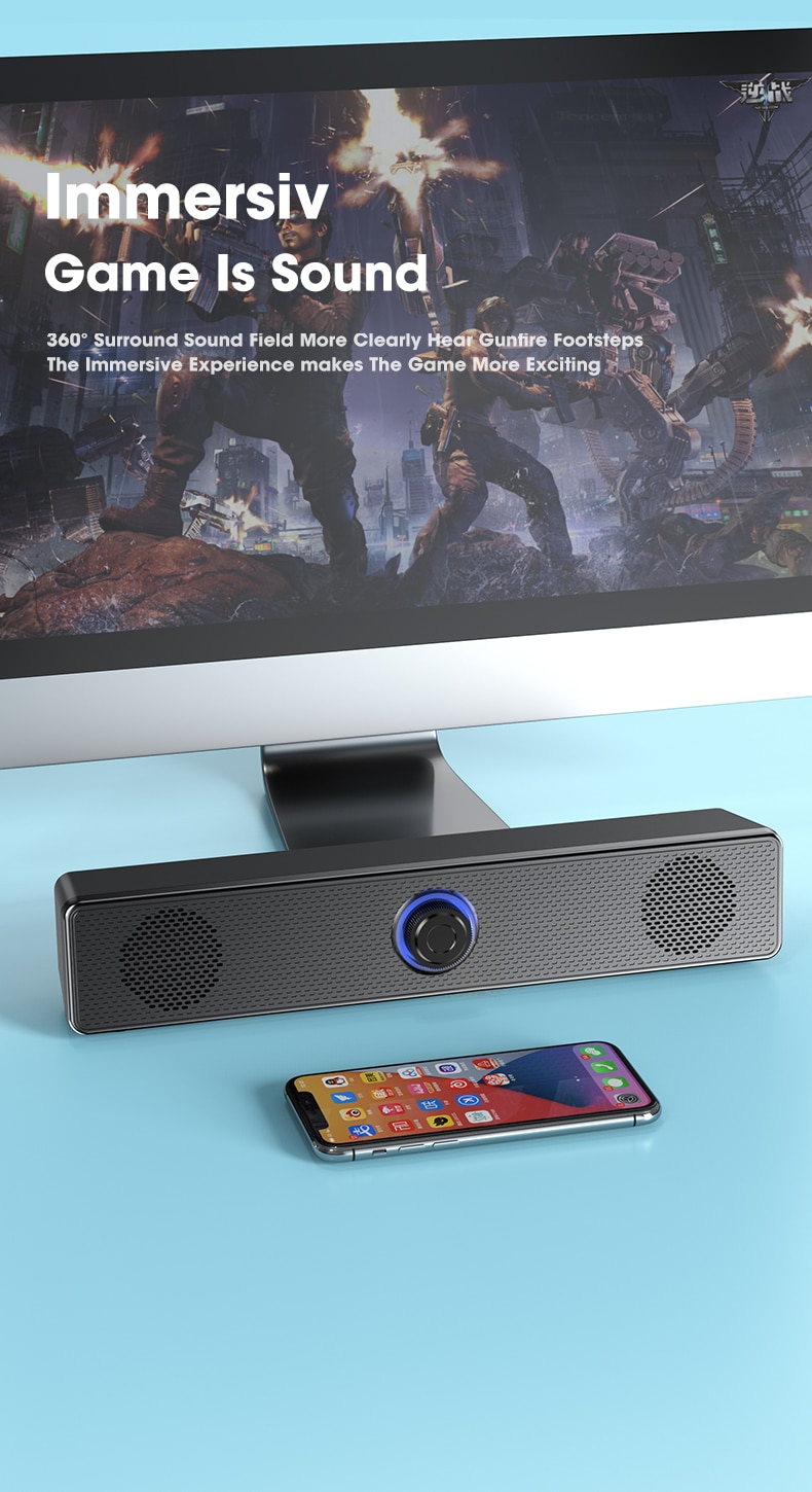 Hd163da14078a43f49e10b50fe4dabc32r - PC Soundbar Wired and Wireless Bluetooth Speaker USB Powered Soundbar for TV Pc Laptop Gaming Home Theater Surround Audio System
