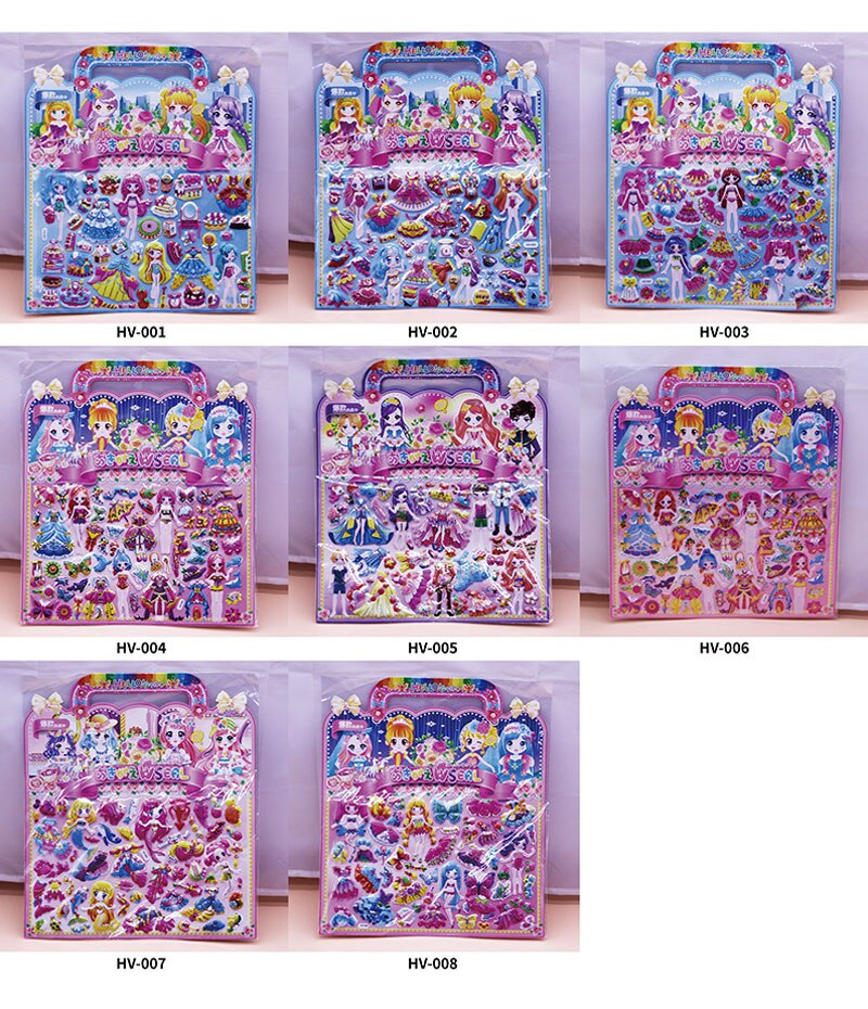 Hd408ee5017f44fdf8547493c68b159c83 - 3D Children Cartoon Bubble Stickers Education Classic Toy Kids Toddlers Cute Girls Dress Up Princess Stickers Birthday Gift