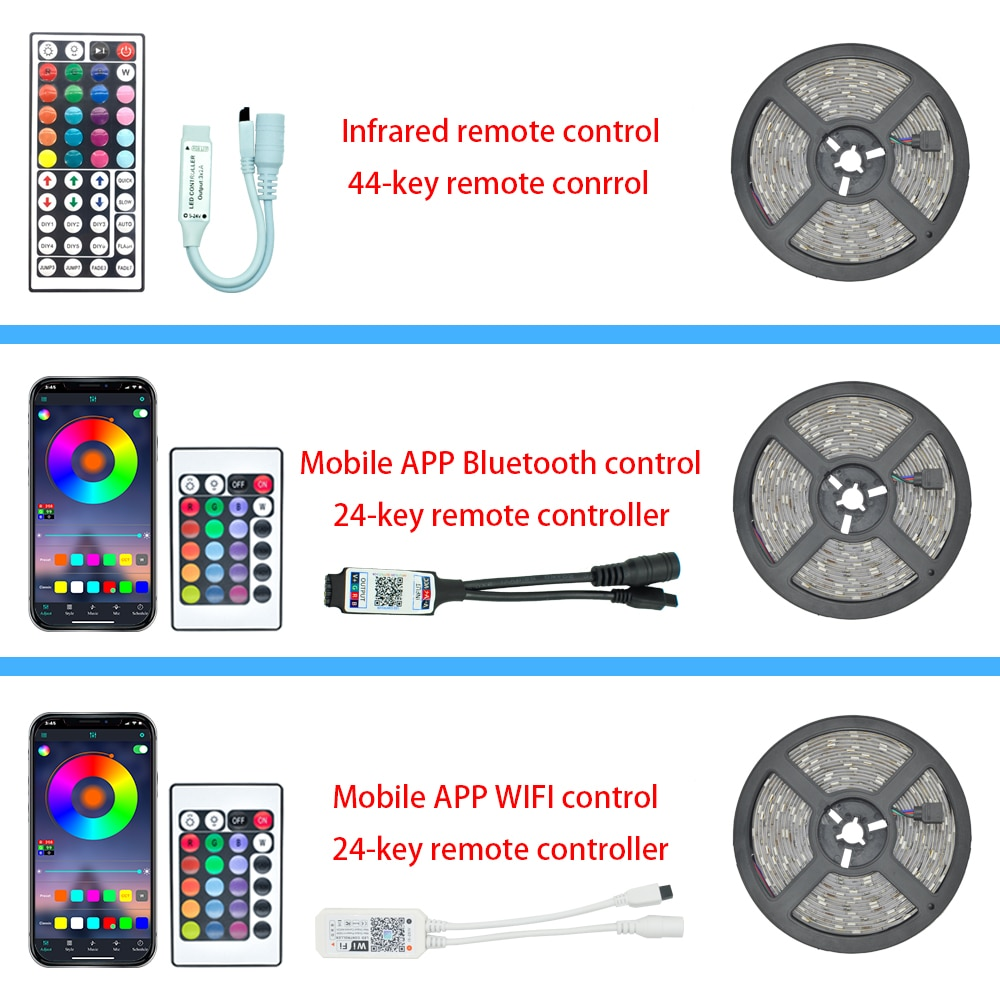 Hdebe1214454e4f648ccea27a9ba165a3o - LED Strips Lights Bluetooth Luces Led RGB 5050 SMD 2835 Flexible Waterproof Tape Diode 5M 10M 15M DC 12V Remote Control Adapter