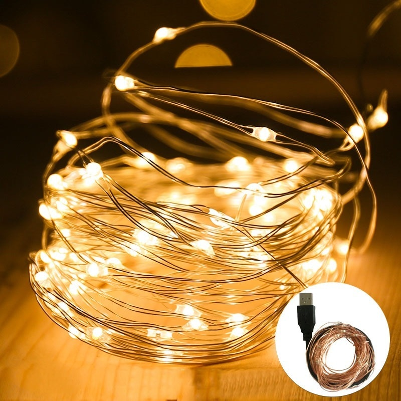 Hdf80c0aca6a74fd0b842b730d1e606eeH - 2/5/10/20M USB LED String Lights Copper Silver Wire Garland Light Waterproof Fairy Lights For Christmas Wedding Party Decoration