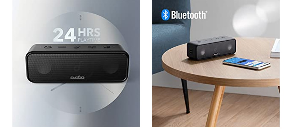 He21309b4fa694289bbf246f64924d74dZ - Soundcore 3 Bluetooth Speaker with Stereo Sound, Pure Titanium Diaphragm Drivers, PartyCast Technology, BassUp, 24H Playtime