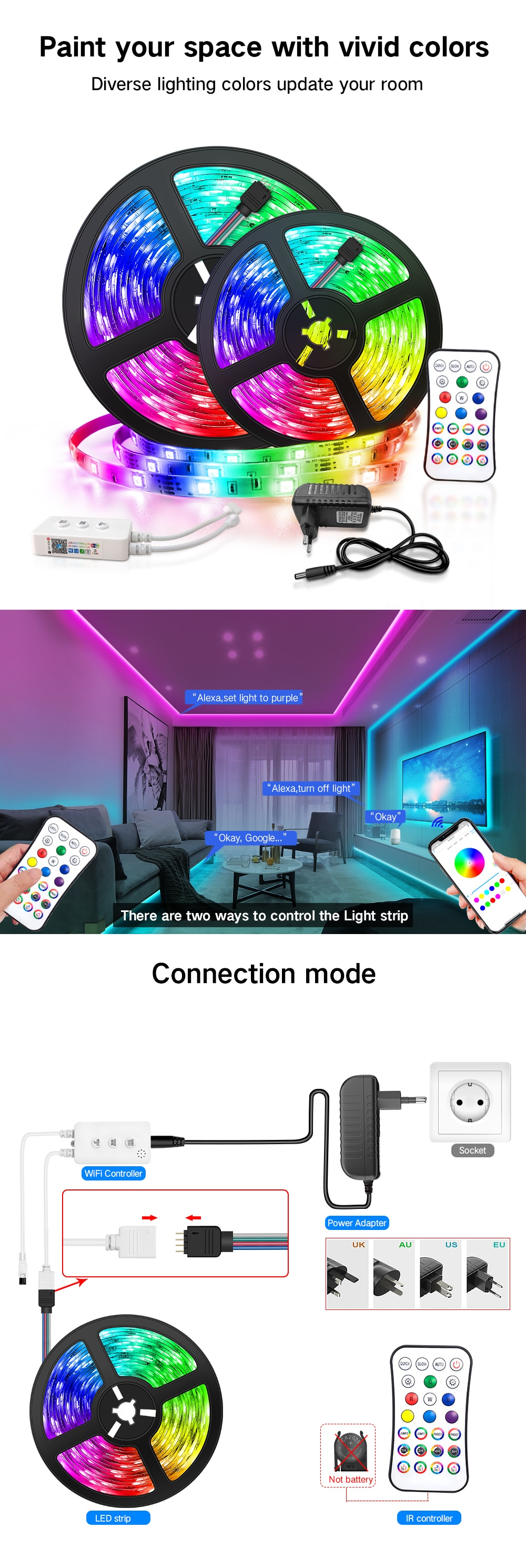 He333f96d9b9b484b94e83161ae4ab008X - 30M WIFI LED Strip Lights Bluetooth RGB Led light 5050 SMD Flexible 20M 25M Waterproof 2835 Tape Diode DC WIFI Control Adapter
