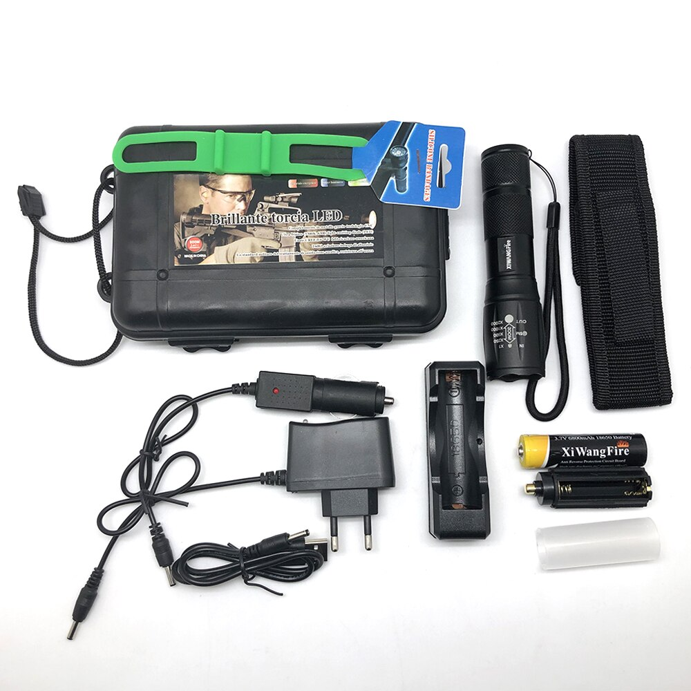 He811eea79ba946dca2d2051bdc24f914p - Portable Powerful LED Lamp XML-T6 Flashlight Linterna Torch Uses 18650 Chargeable Battery Outdoor Camping Tactics Flash Light