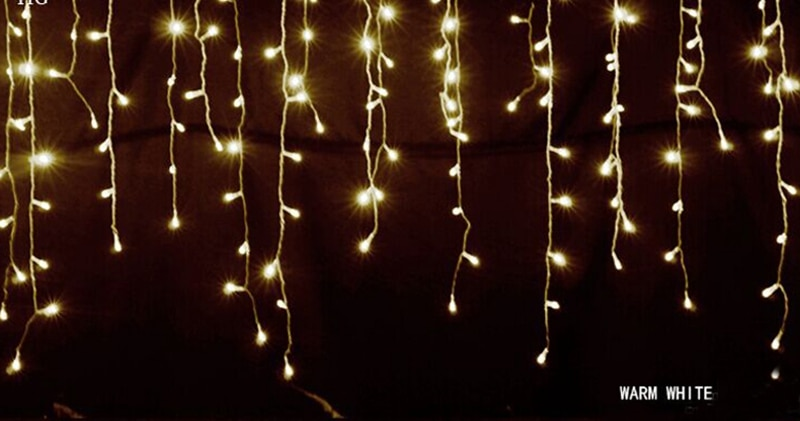 Heb95fef43d2140148a6ae4d0872456b38 - 5M Christmas Garland LED Curtain Icicle String Lights Droop 0.4-0.6m AC 220V Garden Street Outdoor Decorative Holiday Light