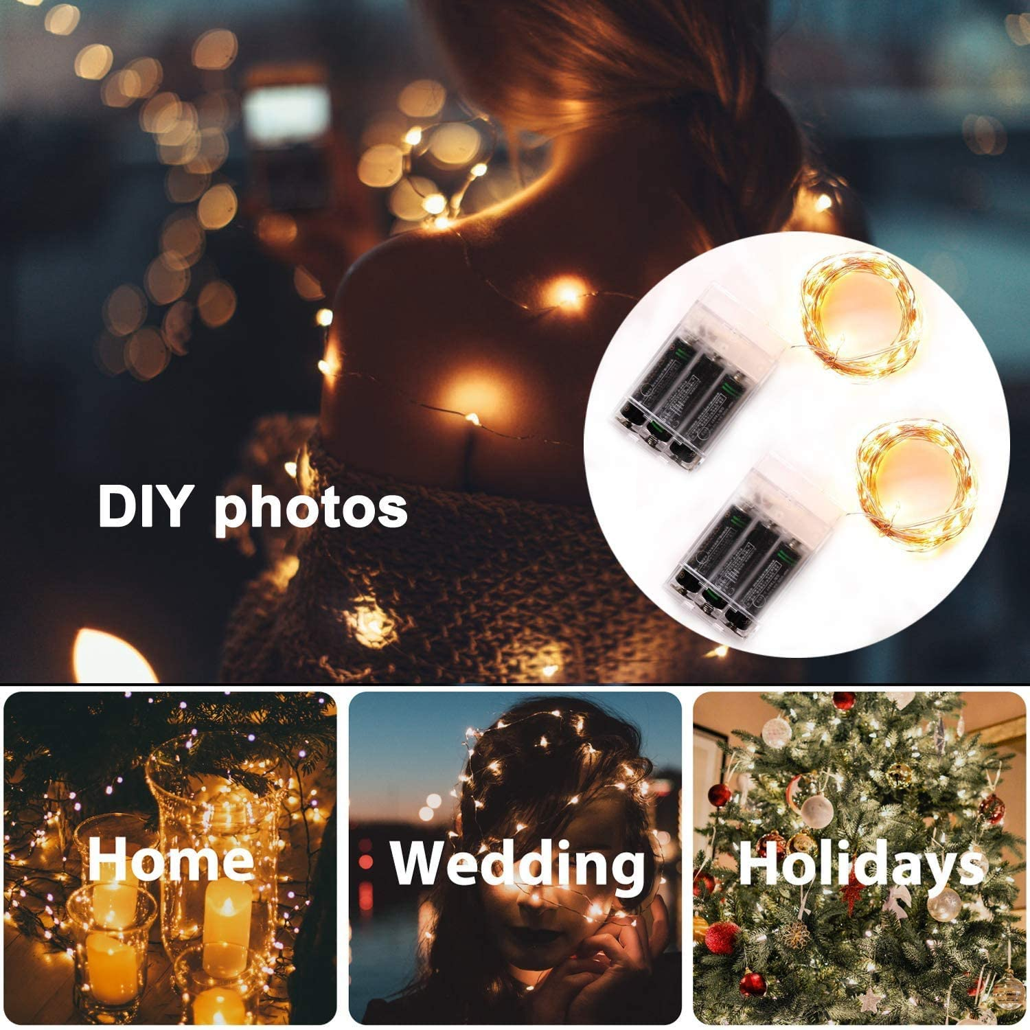 Hef683ad76d65496e83bb641ed4460101K - Christmas LED String light 2M 5M 10M 3AA Battery Operated Garland Outdoor Indoor Home Christmas Decoration fairy Light Led Strip