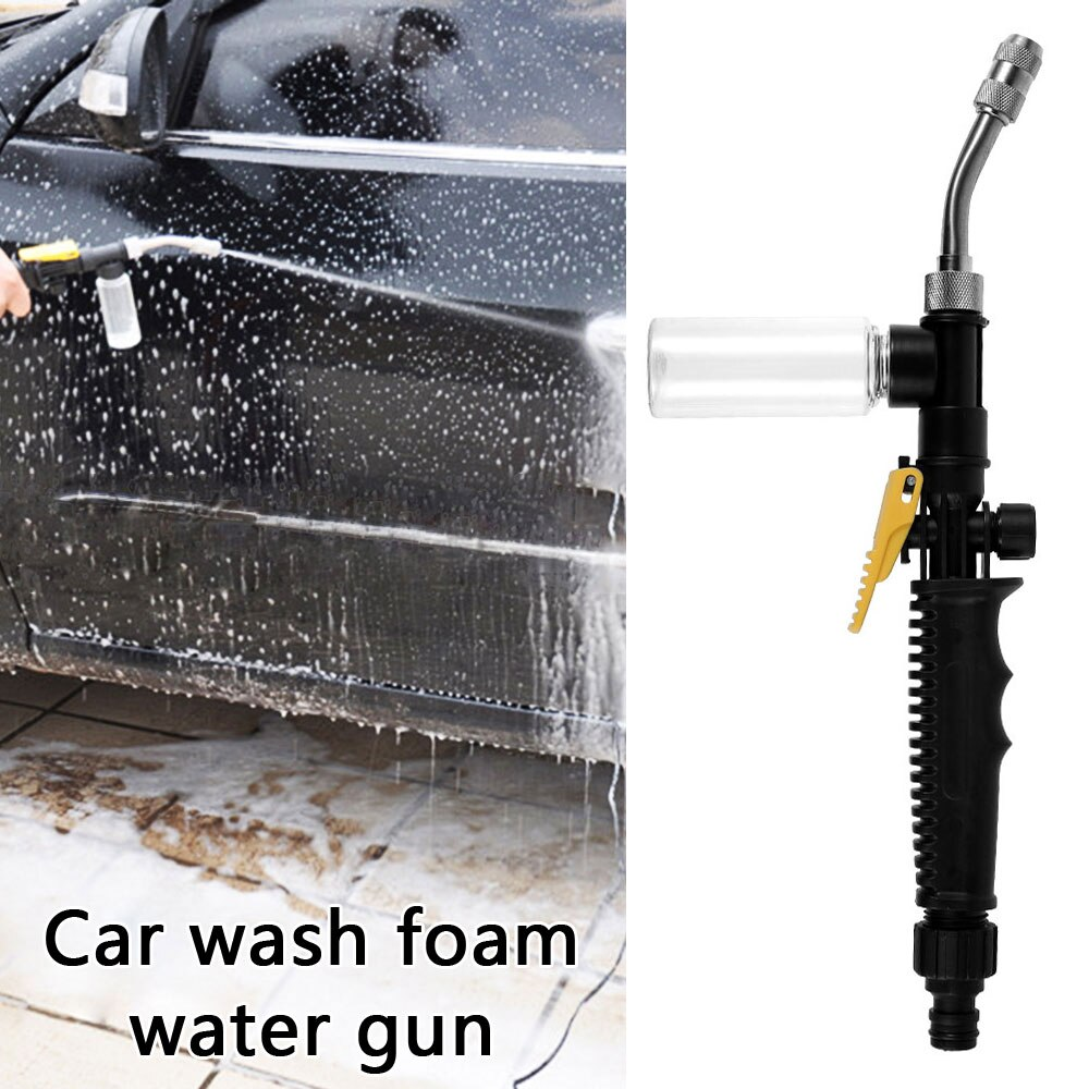 Hf45ad830b9f84870b1e0343b9eec8a94d - Stainless Steel Long Rod Water Gun High Pressure Air Conditioner Copper Nozzle Cleaning Tool Car Wash Gun with Foam Bottle