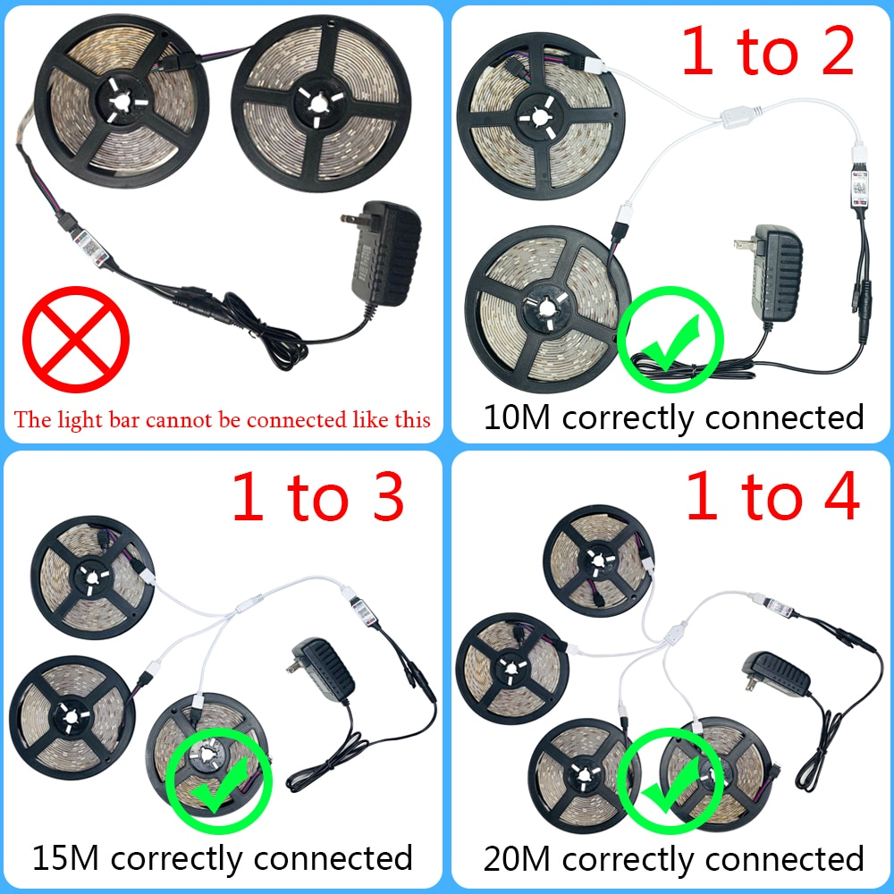 Hf6b15f4252a144d6a56c1676f724d530N - LED Strips Lights Bluetooth Luces Led RGB 5050 SMD 2835 Flexible Waterproof Tape Diode 5M 10M 15M DC 12V Remote Control Adapter