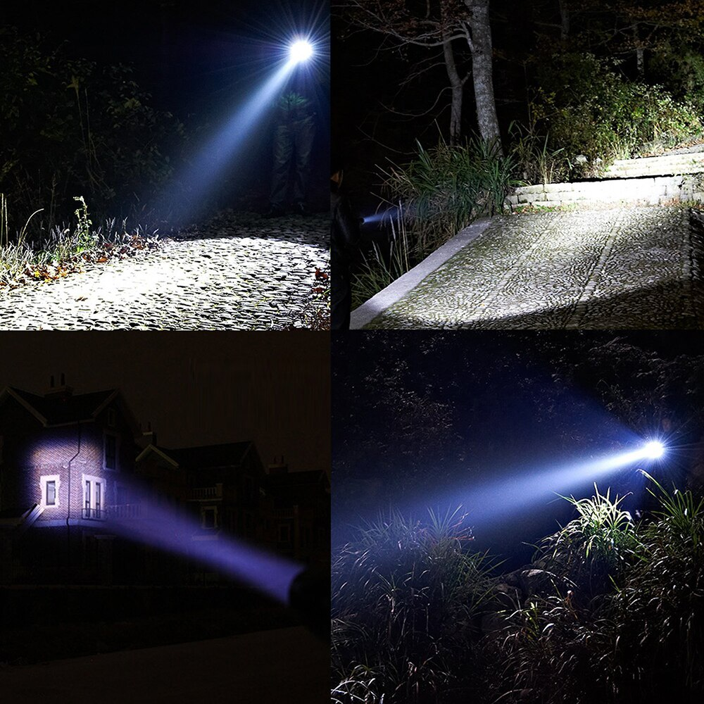 Hfd18a5865b874b24a52fe09927c57dc9K - Portable Powerful LED Lamp XML-T6 Flashlight Linterna Torch Uses 18650 Chargeable Battery Outdoor Camping Tactics Flash Light